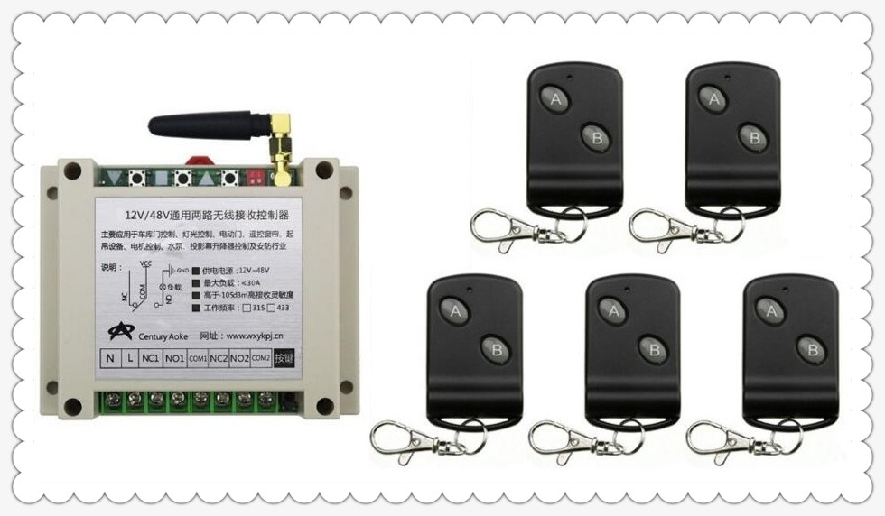 DC12V 24V 36V 48V 10A 2CH RF Wireless Remote Control Switch 5 Transmitter with 2-button Receiver for Appliances Gate Garage Door<br>