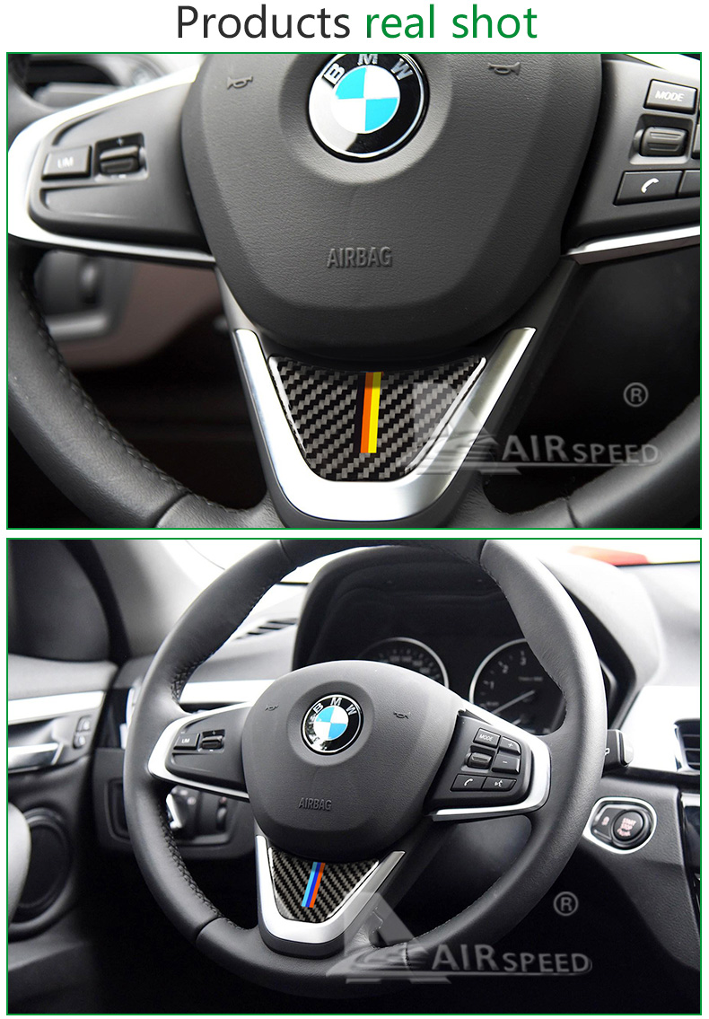 for BMW X1 F48 2016 Carbon Fiber Car Steering Wheel Stickers M Sport for 1 Series F52 F45 F46 Accessories Car Styling (5)