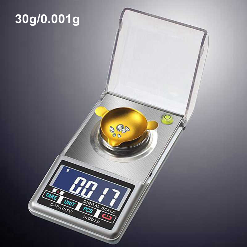 Mini Pocket Digital Jewelry Scale 30G 0.001g  Gram Scales Lab Diamond Weight Balance ABS Blue LCD Backlight Electronic<br><br>Aliexpress
