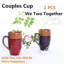 2 PCS Creative Love Couples Mugs Cups Natural Wood Cups Mugs with Handle Wooden Couples Mugs Coffee Tea Cup Valentine Gifts