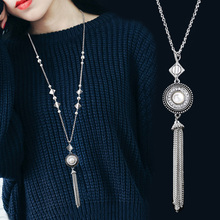 2018 New Style Vintage Metal Alloy Long Chain Tassel Necklace Silver Plated Pendant Necklace for Women Lady Snap Button Jewelry(China)