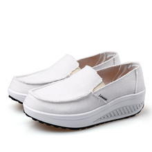 NEW Women's Slip On Swing Shoes Canvas Shape Up Toning Wedges Platform Shoes Walking Sneakers(China)