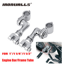 Ironwalls Chrome Motorcycle Offset Foot Peg Footpeg Mounts Clamp 25mm 30mm 37mm For Harley Honda Yamaha Kawasaki ATV UTV Chopper