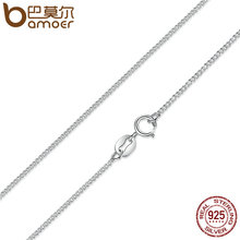 BAMOER Real 925 Sterling Silver Necklace Adjustable Chain Lobster Clasp Simple Chain Fashion Necklace Jewelry 2 Style SCA006-45(China)