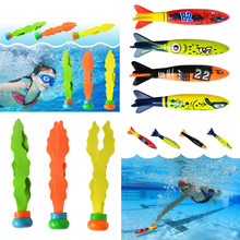 Shark Torpedo Rocket Throwing Toy Diving Game Toy Seaweed Grass Swimming Pool Accessories Underwater Dive Sticks Toys(China)