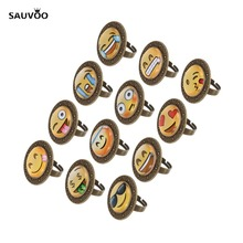 SAUVOO 10pcs/lot Fashion Cute Dia 20mm Mixed Face Smile Round Dome Glass Cabochon Rings Women Party Jewelry Gifts F5438