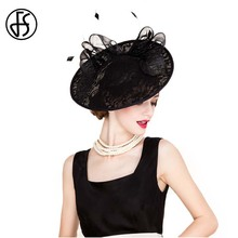 FS Summer Black Wedding Dress Hats Ladies Elegant Formal Evening Linen Fedora For Women Wide Brim Vintage Kentucky Derby Hat