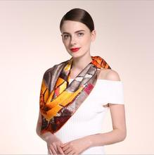 HA797 Women's 100% Mulberry silk pashmina printing scarf  12 momme Silk Satin  90cm*90cm hand screen print made in Hangzhou