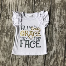 summer baby girls clothes short sleeveall kid's grace in one tiny face icing ruffles top shirts raglans cotton boutique clothes