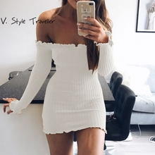 Off Shoulder Knit Dress Women Casual ukraine vestido de festa Female Brief Resort Sexy Bodycon White Black Red Sweater Dresses(China)