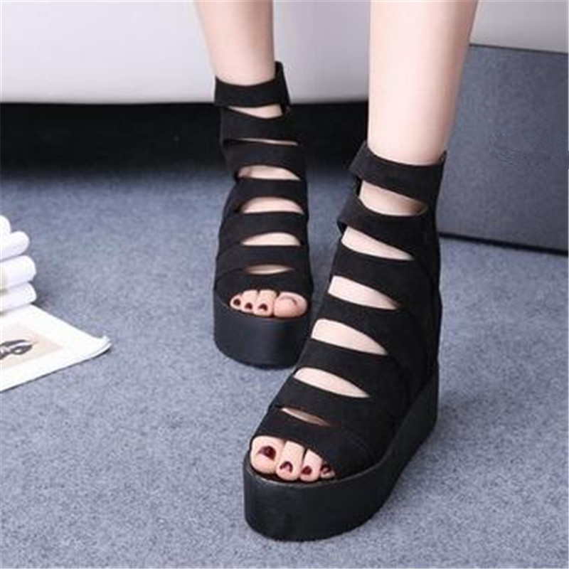 2017 spring and summer new slope with fish mouth shoes in the increase in the end of the platform sandals female casual loose sh<br><br>Aliexpress