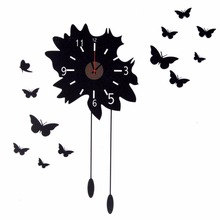Soledi Wall Clock 3D Butterfly Wall Clock Sticker Watch Relogio De Parede Creative Mirror Flower Sticker Living Room Decor