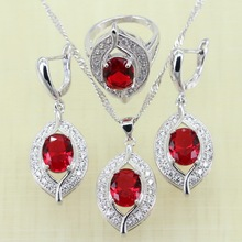 Reginababy Silver color Red created Garnet Jewelry Sets Women Wedding Earrings/Ring/Necklace/Pendant(China)