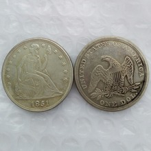 1851 Seated Liberty Silver Dollars One Dollar Coins Retail(China)