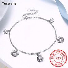 Tuswans New Women's 925 Sterling Silver Ankle Bracelet Chains Zircon Apple Pig Butterfly Jewelry Anklet Beach Jewelry(TSSA003)(China)