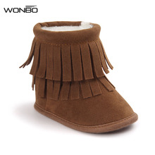 Fringe Fashion 2017 Winter Baby Girls Kids Infant Toddler Children PU Suede Leather Moccasin Moccs Soft Soled Shoes Boots Booty