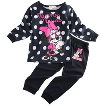 2pcs 2-5Yrs Boys&Girls Cotton Spring Autumn Sportswear Minnie Mouse Clothing Kids fashion Long Sleeve clothes baby cartoon set