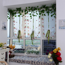 FreeShipping Tulle Voile Kids Strawberry flower Tulle Finished Product Quality Window Screens Curtain Bedroom Curtain Blackout