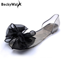Sweet Bowknot Women Sandals Summer Jelly Shoes Woman Crystal Transparent Flats Casual Beach Ladies Shoes WSH2053(China (Mainland))
