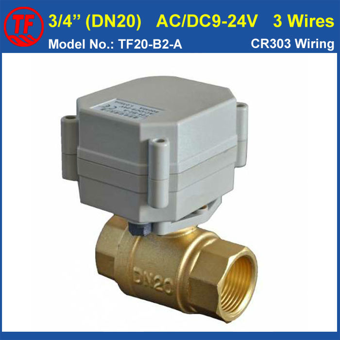 TF20-B2-A DN20 Motor Operated Valve AC/DC9-24V 3 Wires 2-Way BSP/NPT Female 3/4 Electric Motorized Ball Valve Metal Gear<br><br>Aliexpress