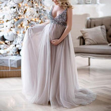 (Ship from US) Sexy Women Pregnant Sling V Neck Sequin Cocktail Long Maxi  Prom Gown Dress Lace Maternity Dress Fancy summer pregant Dress 2019 27efa811b0cd