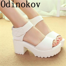 Odinokov  Fashion Women Summer Shoes White Black Platform Soft PU Sandals Women's High-Heeled Shoes Thick Heel Sandals Flip Flop