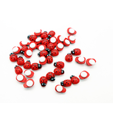 20PCS Wooden Ladybird Ladybug Sticker DIY Craft Self-adhesive Children Kids Painted Adhesive Back Home Party Holiday Decoration