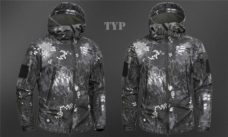 Mege Shark Skin Soft Shell Military Tactical Jacket Men Waterproof Army Fleece Clothing Multicam Camouflage Windbreakers 4XL 26