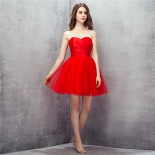 Prom Dress Actural Strapless Tulle Red Girl Short Simple Buy Direct From China Evening Party Dresses
