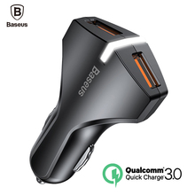 Baseus Quick Charge 3.0 Car Charger 5V3A Dual USB Port QC3.0 Quick Charger Mobile Phone Fast Charging Charger 2 USB Car-Charger(China)