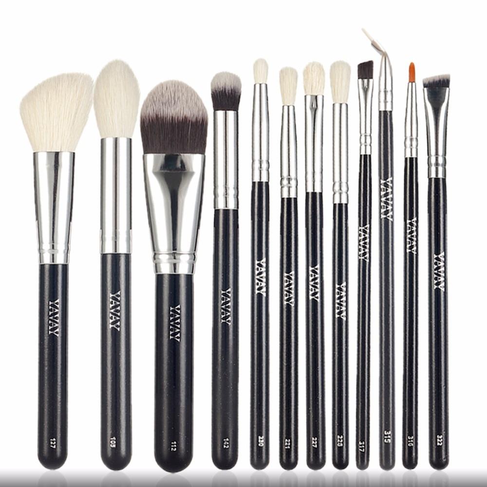 YAVAY brand 12 pieces Goat Hair Essential Premium Foundation Eye shadow Blush Powder Highlighter Concealer Makeup Brushes Set<br>