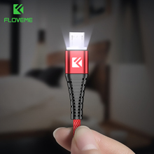 FLOVEME Micro USB Charger LED Cable Samsung Huawei Xiaomi 1M Data Sync Cord Wire 2.4A Fast Charging Mobile Phone Cables Cabo