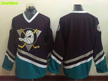 SexeMara Cheap Men's New Mighty Ducks Movie Jersey Blank Ice Hockey Jersey Purple Color Best Quality free shipping