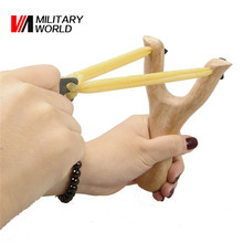 Powerful Wooden Slingshot Shot Brace Catapult With Rubber Band Shooting Balls For Hunting Sports Practice Outdoor Entertainment