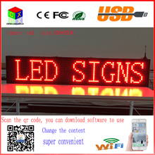 40X8 inch P10 indoor RED LED sign wireless and usb programmable rolling information 1000x200MM led display screen(China)