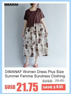 DIMANAF Women Summer Dress Big Size Cotton Linen Casual Soft Style Black Polka Dot Oversized Loose Female Sundress Clothing 2018 8