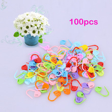 100pcs/lot Colorful Plastic Needle Clip Hook Knitting Crochet Locking Stitch Markers Crochet Latch Knitting Tools
