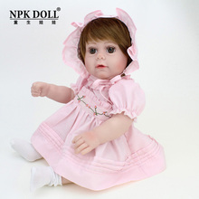 Silicone Reborn Baby Doll Full body silicone Cute Gift For Girls 16 inch Princess Doll Baby Face