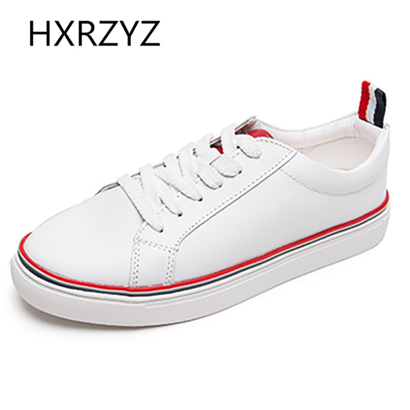 Spring Autumn Of Fashion Soft Leather Lace-up White Shoes Female Students Casual Low Upper Flat Shoes Womens Canvas Shoes<br><br>Aliexpress