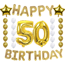 zljq 50th birthday party decoration 50 years old celebration supplies happy birthday foil balloons gold white