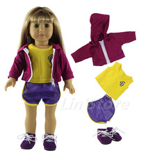 Basketball clothing Doll Clothes for 18'' American Girl Doll Handmade Coat+top+shorts+shoes(China)