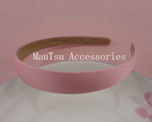"10PCS 20mm 3/4"" Light Pink Satin Fabric Covered Plain Plastic Hair Headbands with velvet back hairbands(China)"