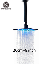 Modern Ceiling Mount Square Shower Arm 20cm 8 inch LED Light Shower Head Oil Rubbed Bronze