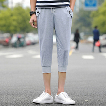 fitness mens shorts sweatpants casual Polyester Middle Waist Men Capri Statement patchwork black gray xxl men shorts beach
