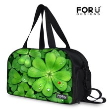 FORUDESIGNS New Arrival Duffle Bag, Cactus Pattern Traveling Beach bag For Men,Lucky Clover 3D Printing Green Large Travel Bag(China)