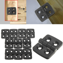 10pcs 4 Holes Black Folding Hinges Jewelry Gift Wine Box Wood Dollhouse Door Hinge Cabinet Drawer 30x40mm For Furniture Hardware(China)