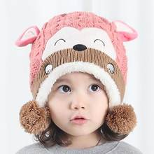 Nouveau Mode Chapeau Enfant Impression Tricot Chapeaux Automne Hiver  Printemps Bébé Garçon Fille Singe Motif Nourrissons 5cf6c34cd78