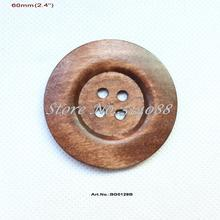(20pcs/lot) 60mm Huge Wooden Sewing Button Scrapbooking Coat Hat butons bulk 2.4 inches Brown -BG0129B