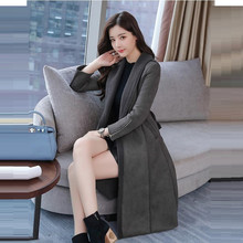 2017 New lamb wool coat Winter Fashion Street Women's pink Long Leather Jacket Thickening Women Leather Coat Female Warm Jackets(China)