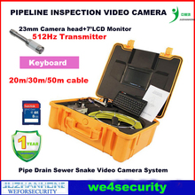 Pipe Drain Sewer Inspection Camera System With 50M Cable 512hz Transmitter Pipe Locator Keyboard 7 inch Monitor 12Pcs Led Lights(China)